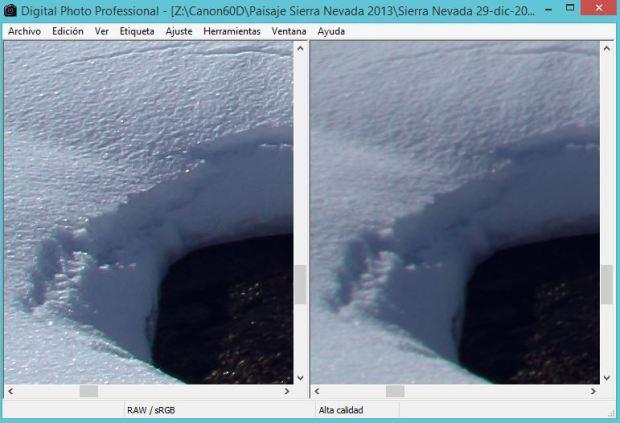 (Comparativa entre fotografía con ajustes de nitidez de DPP vs apertura con valores por defectos en DPP)