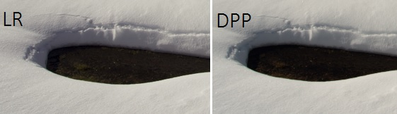 (matiz de la nieve similar para una temperatura en LR de 5750K y en DPP de 7300K)