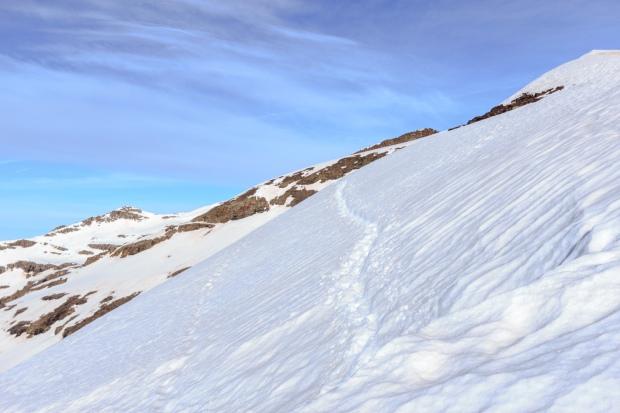 Camino de vuelta, último paso complicado bajo el Cerro de los Machos (Ruta río Seco #27)
