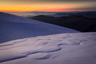 Atardecer de invierno en la Loma de Maitena, Sierra Nevada, 2014-2015