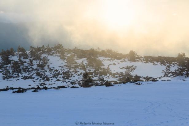 Luz al amanecer durante la aproximación al gran diedro. Peñalara, 2016